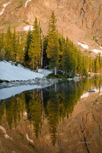 Two Rivers Lake, pines, reflection, sunrise, Rocky Mountain National Park, Colorado