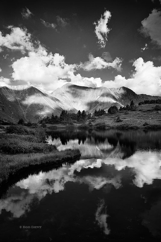 Grizzly Peak, Loveland Pass, reflection, black and white