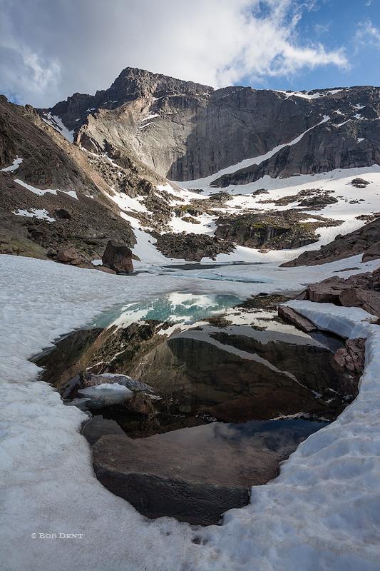 Frozen Lake, Glacier Gorge, snow