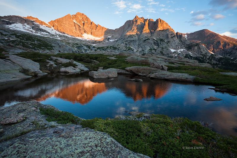 McHenry's Peak, Arrowhead, alpine pool, tarn, sunrise, reflection